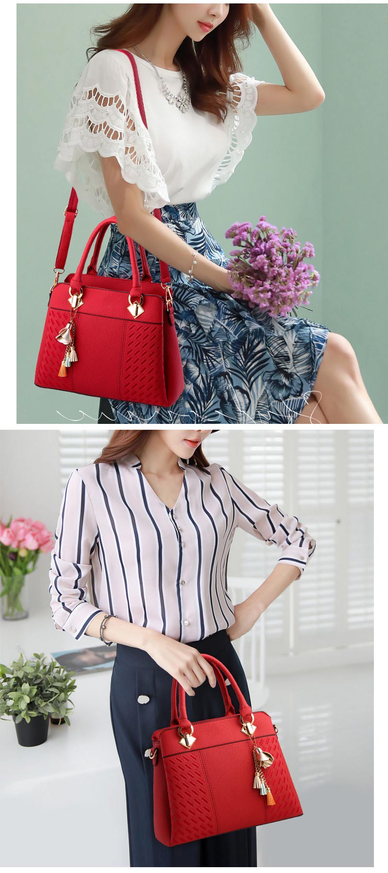 STSR Leather Clutch Bag Female Handbag Luxury Beach Tote Ms. Fringe Shoulder Bag Tote gray one size 21