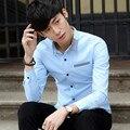 2016 Весна Осень Мода Бизнес Мужчины Рубашка С Длинным Рукавом Случайные Корейский Хлопок Однобортный Сорочка Homme Мужская Одежда