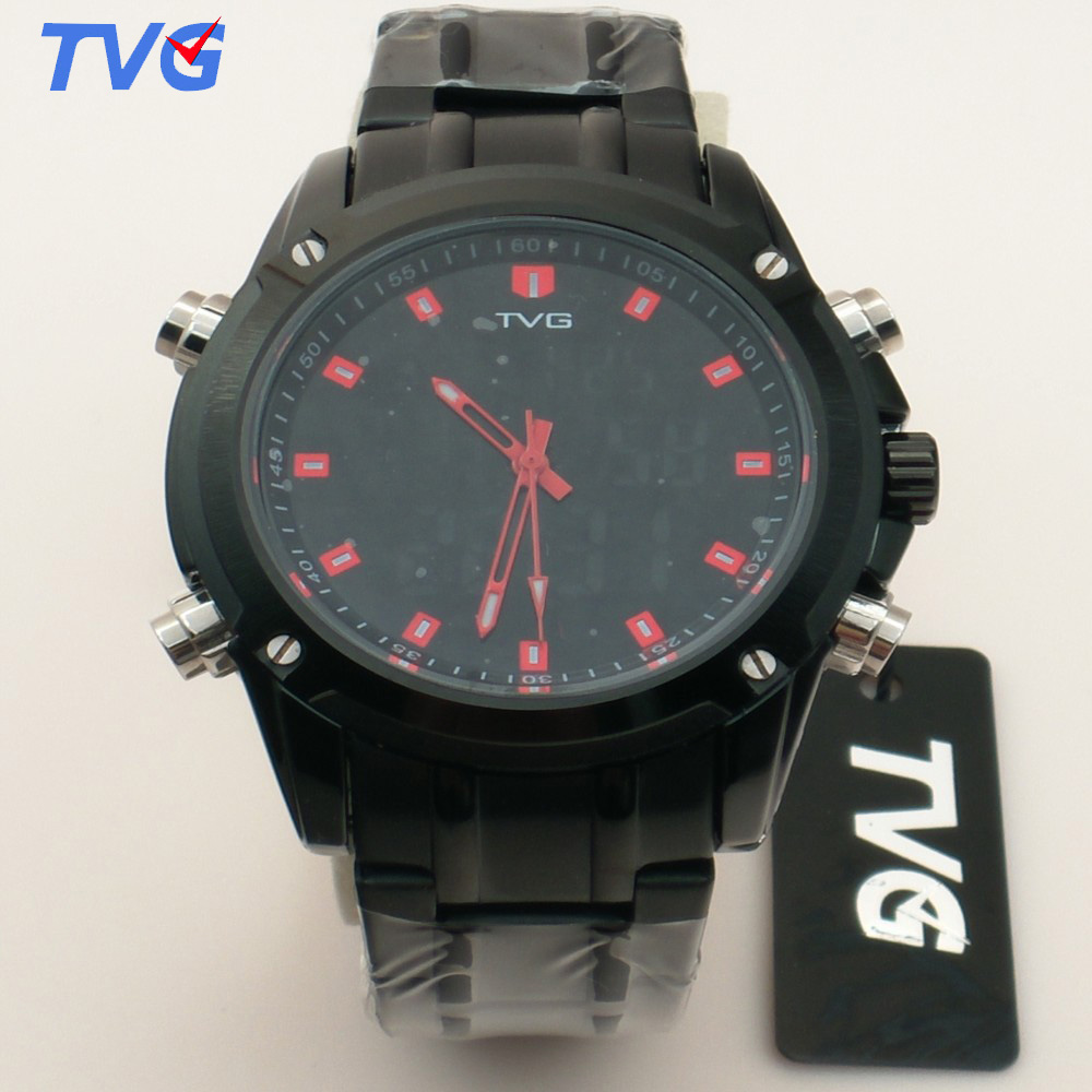 TVG Brand Men Sports Watches Analog Military Quartz Watch Dual Display Waterproof LED Digital Watch Stainless Steel clock KM5261 tvg male sports watch men full stainless steel waterproof quartz watch digital analog dual display men s led military watches