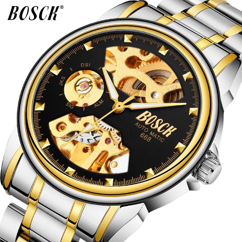 BOSCK Watches Mekanike Burra Ora Supreme Gold Watch Mjete Mekanike - Ora për meshkuj