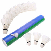 Hot 12 Pcs Durable Badminton Balls Goose Feather Shuttlecocks with Goose Feather White for Training Game Sport(China)