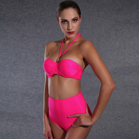 2016 Sexy Women Bikinis Vogue Halter Neck Padded Tube Top Push Up bikini High waisted bathing suits swimsuit maillot de bain