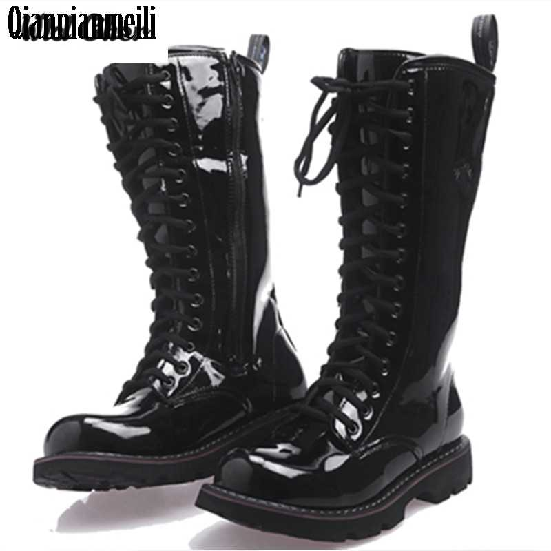 03d72d29096 2017 Over Knee High Boots Mens Military Boots Natural Cow light Leather Men  Long Waterproof Snowboots