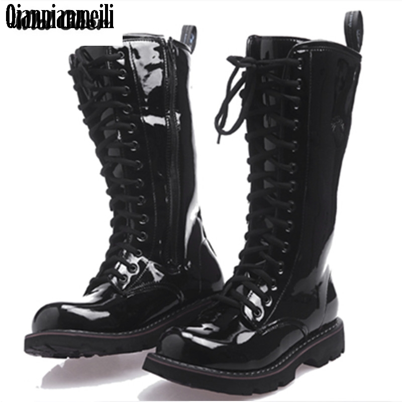 2017 Over Knee High Boots Mens Military Boots Natural Cow light Leather Men Long Waterproof Snowboots Equestrian Motocycle Boots