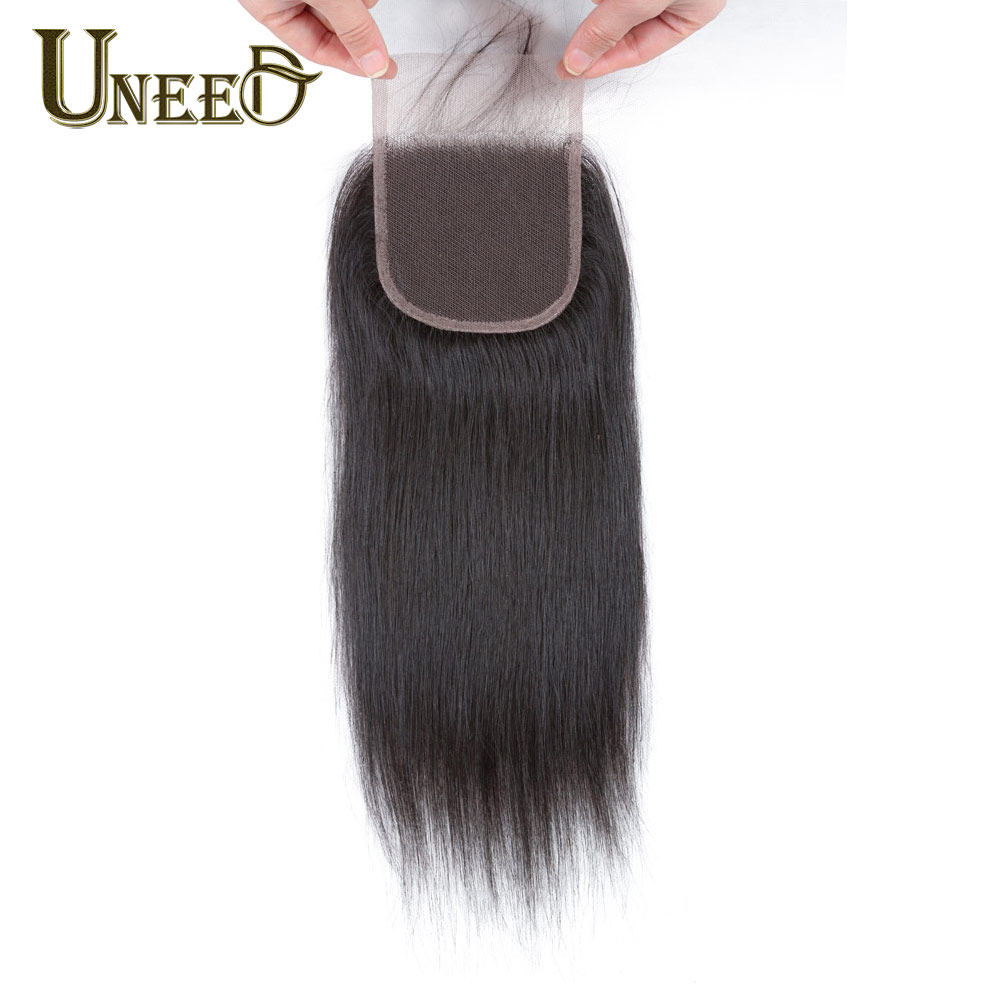 Uneed Hair Peruvian Straight Hair Lace Closure Free/Middle/Three Part Peruvian Remy Human Hair 4x4 inch Swiss Lace Top Closure
