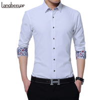 2017 New Fashion Brand Clothing Mens Shirts Casual Slim Fit Korean Solid Square Collor White Long