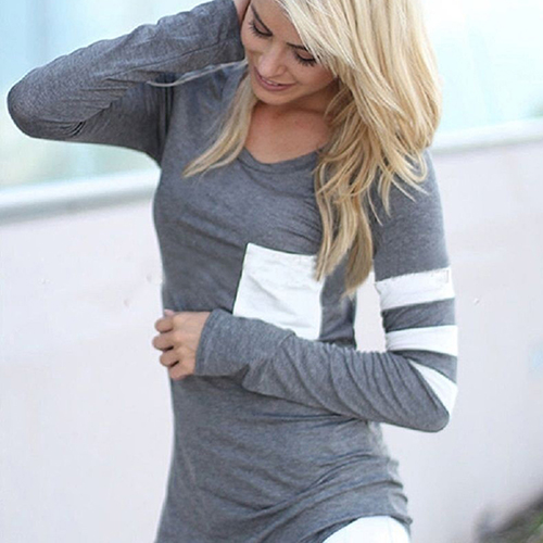Women's Fashion Long Sleeve Shirt Casual Striped Loose Cotton Tops T-shirt