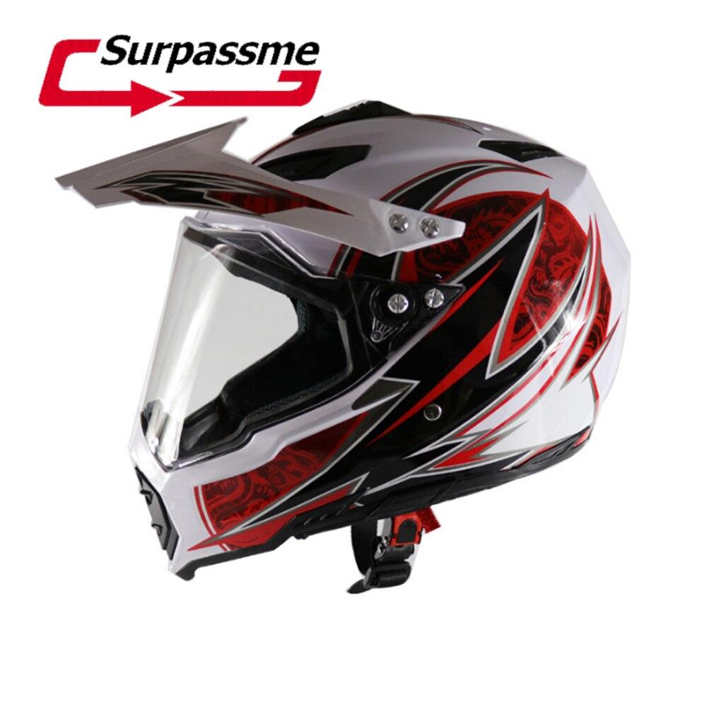 Blanc Moto Casque Casque Tout-Terrain Casque Motocross Vtt Dirt Bike Cross Casque Motocross