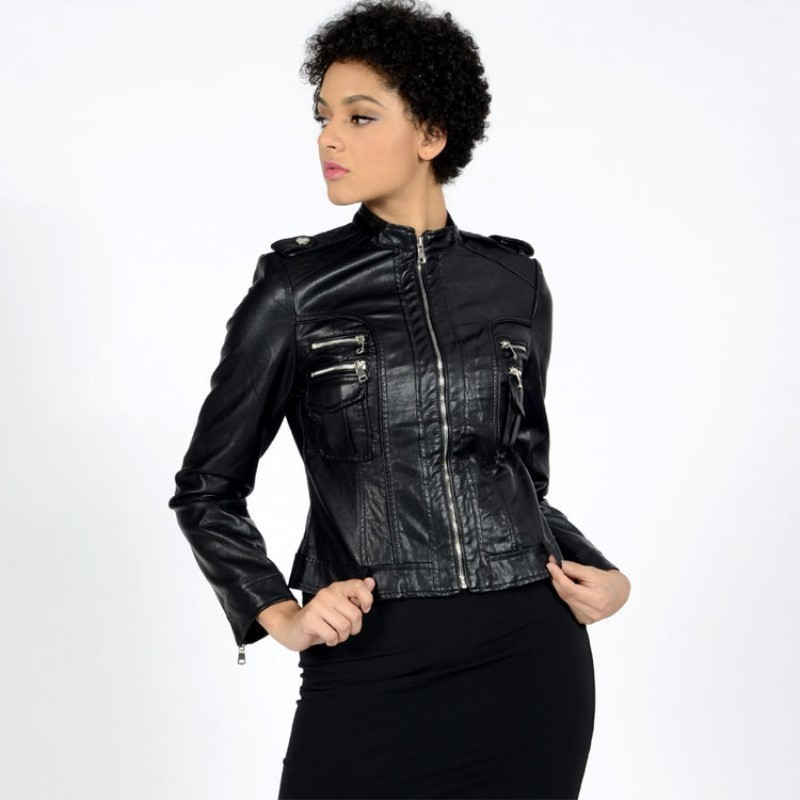 Slim Zipper Biker Fit Taille Marque Dames Mujer La Femmes Manteaux De Plus Chaquetas Veste Lulu Européenne Noir Pu En Luxe Max Cuir Moto wqXA78c