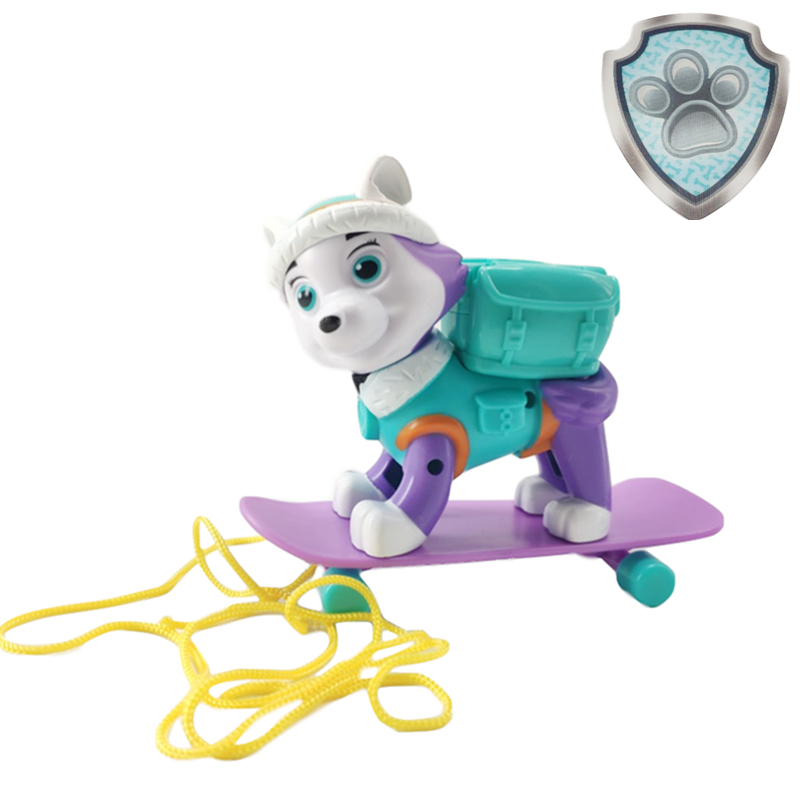 Paw Patrol Everest Tracker Dog Skateboard Puppies Can Be Deformed Patrol  Patrulla Canina PVC Doll Toys Action Figure Model Toys