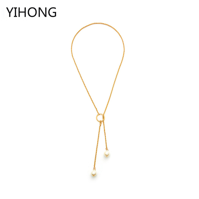 Faux Pearl Detail Chain Necklace Gold Color Double Pendant Y Shaped