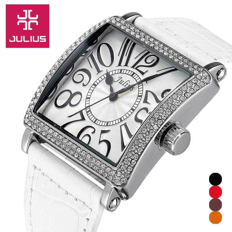 Julius Women's Watch Japan Quartz Hours Clock Fashion Dress Rhinestone Leather Bracelet Girl Christmas Valentine Gift Box 612 top julius lady women s watch japan quartz elegant rhinestone large number fashion hours dress bracelet leather big girl gift