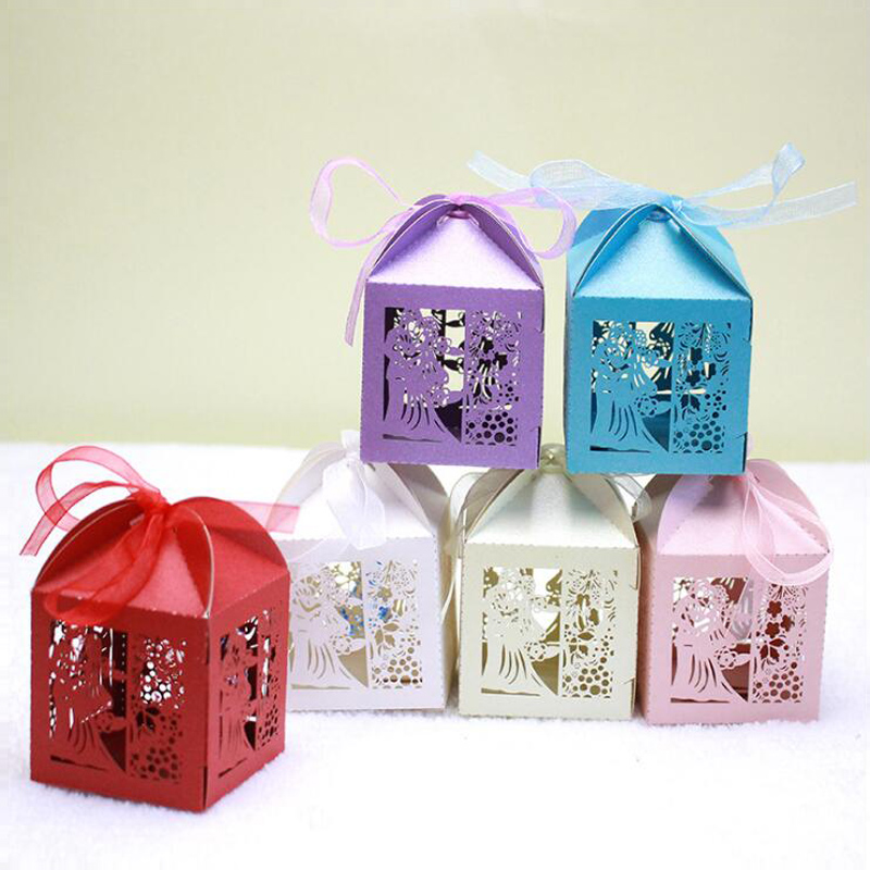 100 Bride And Groom Wedding Favor Box Laser Cut Candy Box Sweets