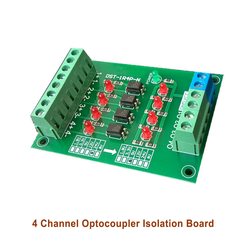 4-way Optocoupler Isolation PLC Level Voltage Conversion Board 1.8 3.3 <font><b>5</b></font> <font><b>12</b></font> 24V DST-1R4P-N image
