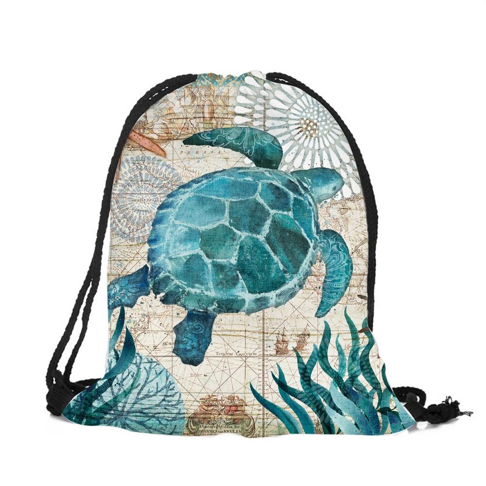 Blue marine animal Women font b Backpack b font Seahorse Turtle Octopus 3D Printing Travel Shoulder