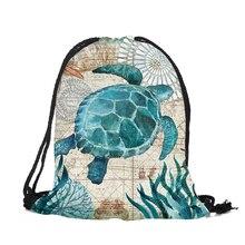 Уникальные индивидуальные Для женщин рюкзак конек черепаха Осьминог 3D печать путешествия сумки на плечо Mochila мужские тренажерный зал Drawstring сумка