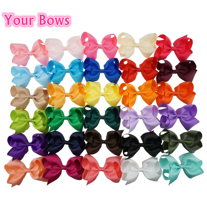 Your Bows 30pcs/lot 4 Inch Boutique Girls Hair Bows Handmade Grosgrain Ribbon Bows With Hair Clips Girls Hair Accessories 30pcs lot 28 color u pick handmade 3 chiffon rolled rosette boutique hair flowers diy girls hair accessories fh28