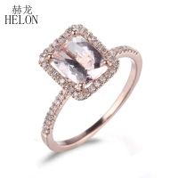 HELON Solid 10K Rose Gold Cushion 8x6mm Pink Morganite Pave Natural Diamond Gemstone Ring Engagement Wedding Women'sFine Ring
