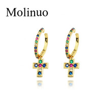 Molinuo gold filled cute simple charm jewelry rainbow cz paved cross clip earring for womenband ear bone on
