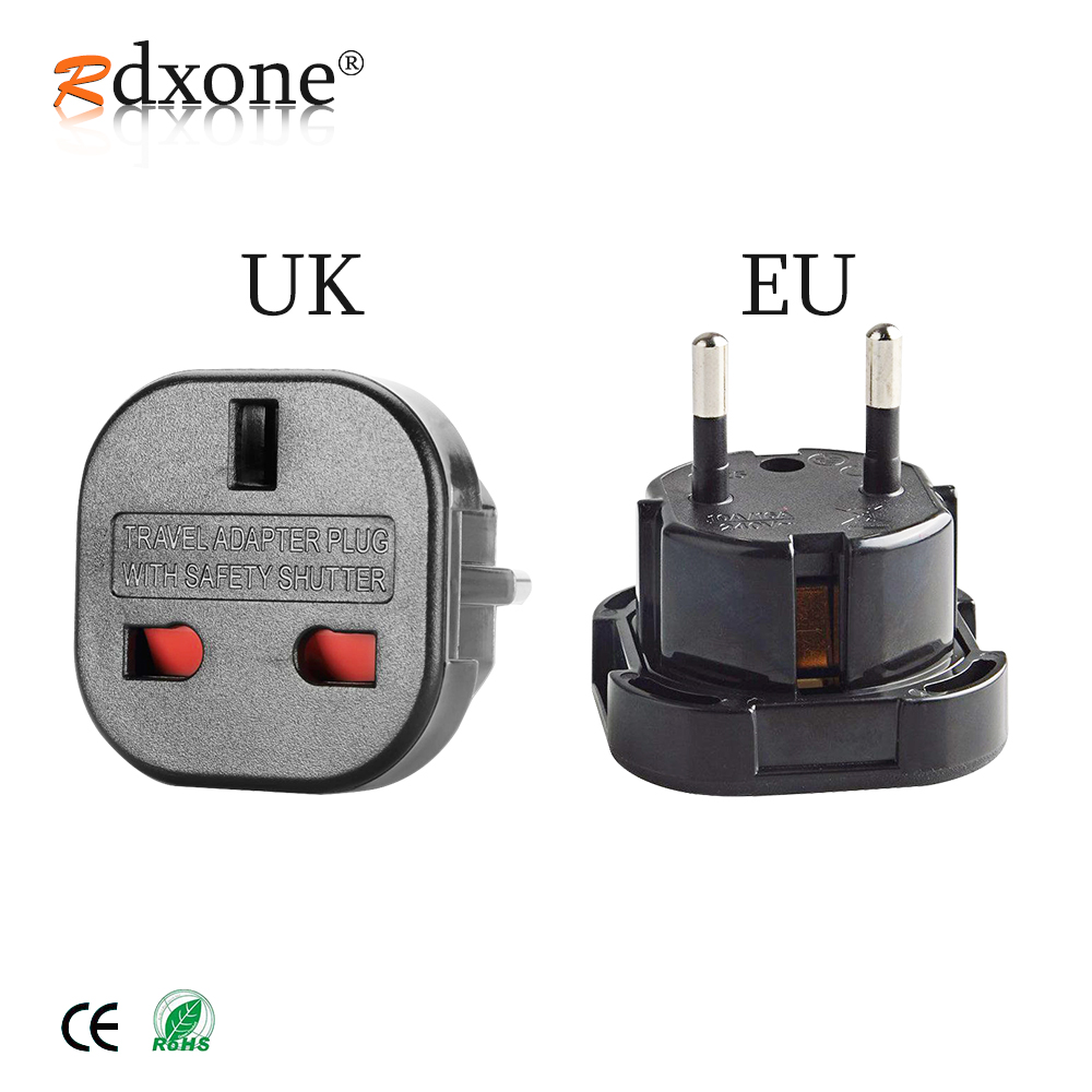 Rdxone UK to EU plug adapter Plug Converter 2 Pin Wall Plug Socket for UK to EU Travel Charger Adapter image