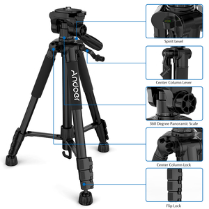 Image 4 - Andoer TTT 663N Professional Portable Travel Aluminum Camera Tripod for SLR DSLR Digital Camera Tripod with Phone Clamp