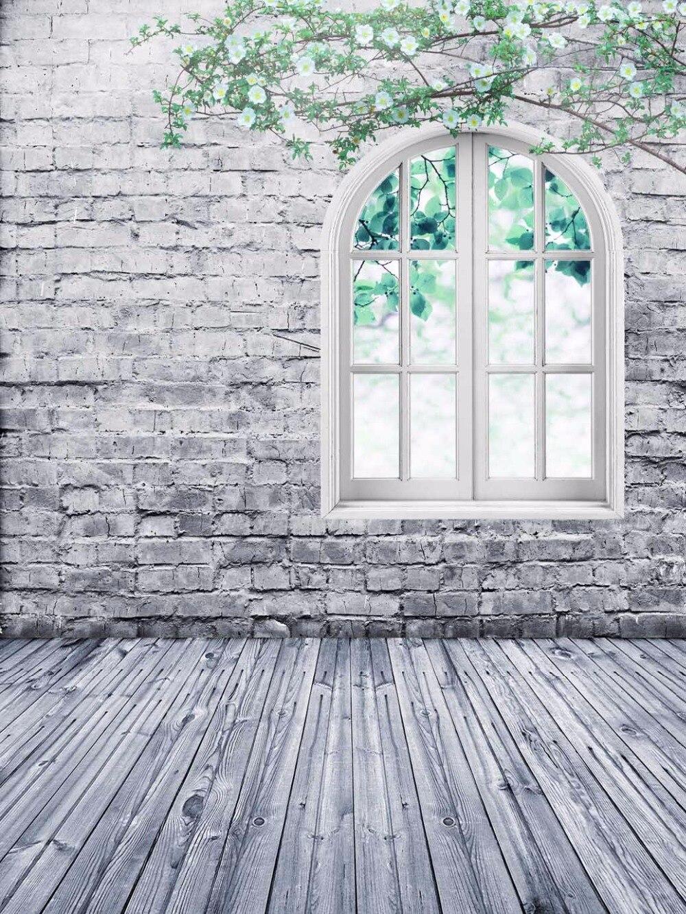 Photo Backdrops 200x300cm White Brick Wall with Wood Floor Wedding Photographic Background Studio Vintage Wedding Photo Booth