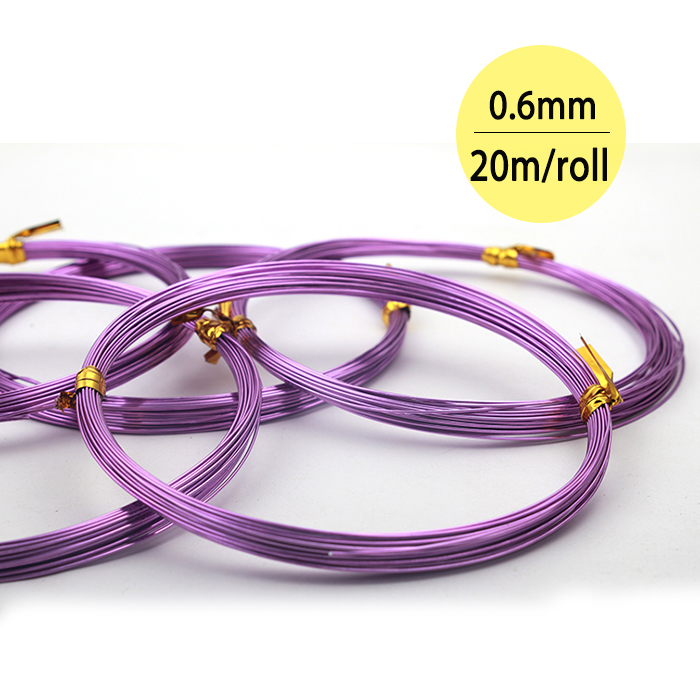 0.6mm*20m/ps 22 gauge Purple Gold Orange Green Plated Aluminum Jewellery Making Wire Craft Soft Anodized Aluminium Wire Coil
