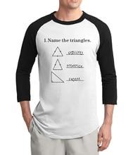 adult Name The Triangles geometric t-shirts 2017 new summer three quarter sleeve raglan men t shirt 100% cotton science shirt