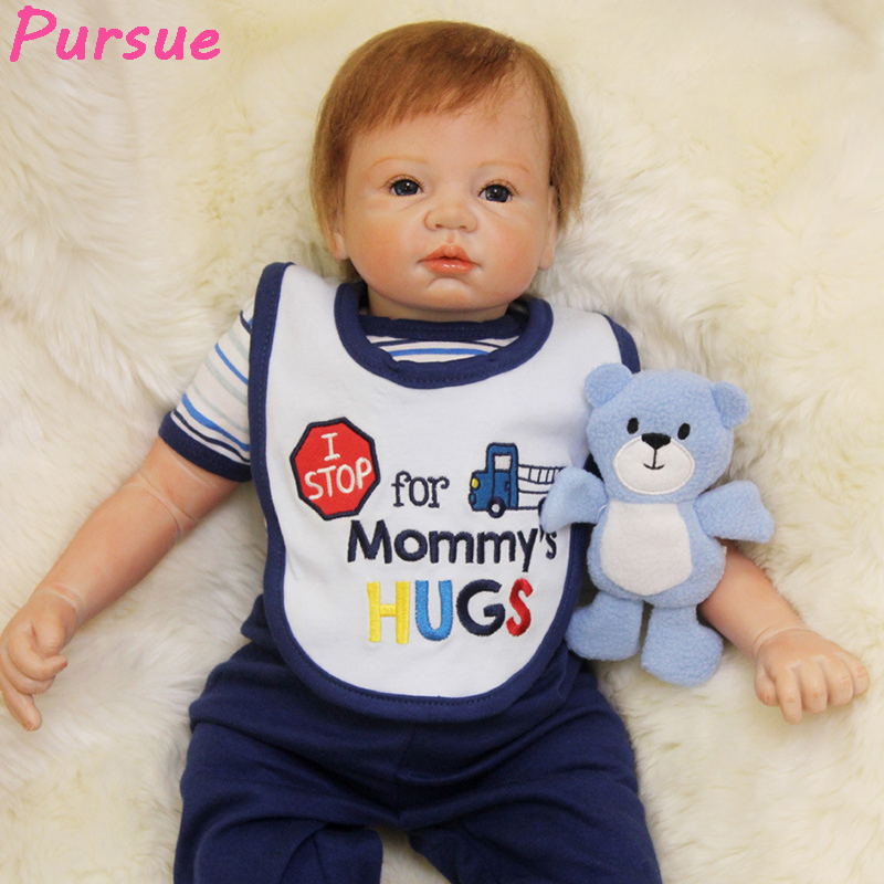 Pursue 22/55 cm Magnet Mouth Soft Vinyl Silicone Reborn babies Doll Boy Girl with Plush Bear Toys for Children House Play Toys 52cm reborn babies blue eyes magnetic mouth soft touch silicone doll reborn boy girls toys bear plush doll bebe gift reborn