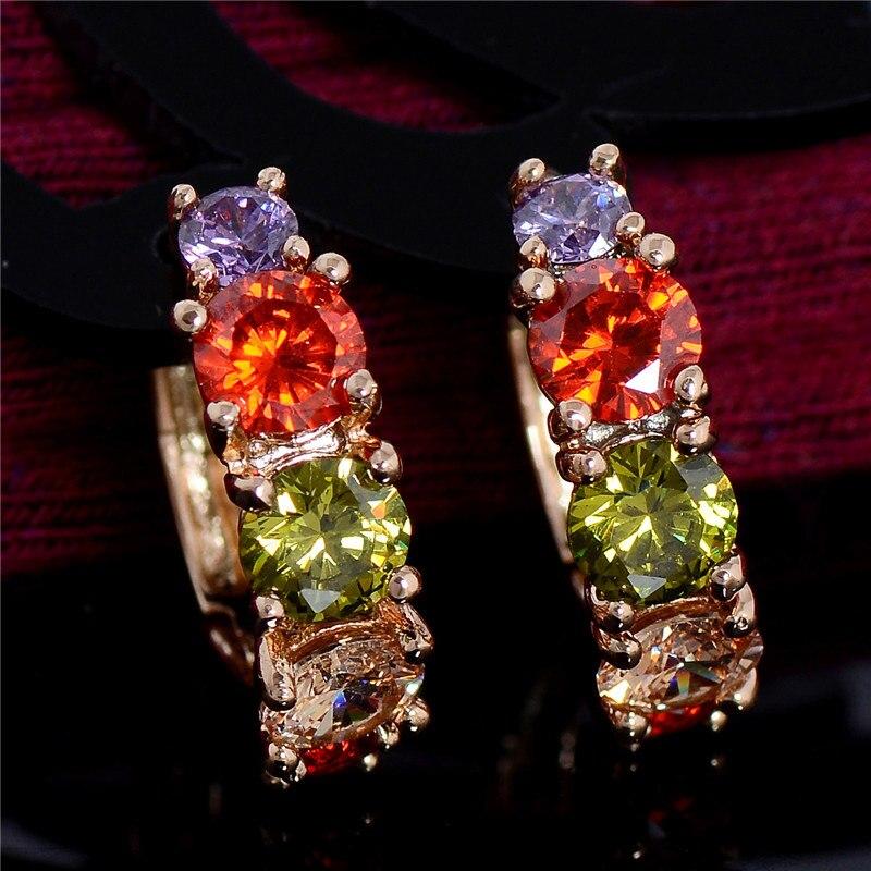 SHUANGR Hot Sale Gold Filled Jewelry Zircon CZ Crystal Hoop Earrings for Women Luxury Wedding Bridal Jewelry Earring