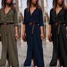 цена на NEEDBO Summer Dress Large Size Maxi Dress Long Sleeve Solid Retro Sexy Patchwork Button Shirt Dress Long Dresses Casual Summer