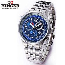 2017 Binger Multifunction Watch Mens Army Sports Multiple Time Zone Watches Auto Football Stopwatch Mechanical Wristwatches