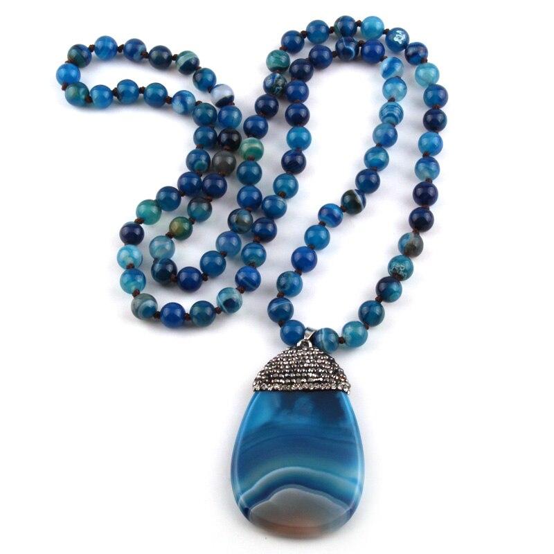 Mode Bohemian Tribal Schmuck Blau Streifen Stein Verknotet Kristall Pflastern Steine tröpfchen Halsketten Frauen Ethnische Halskette