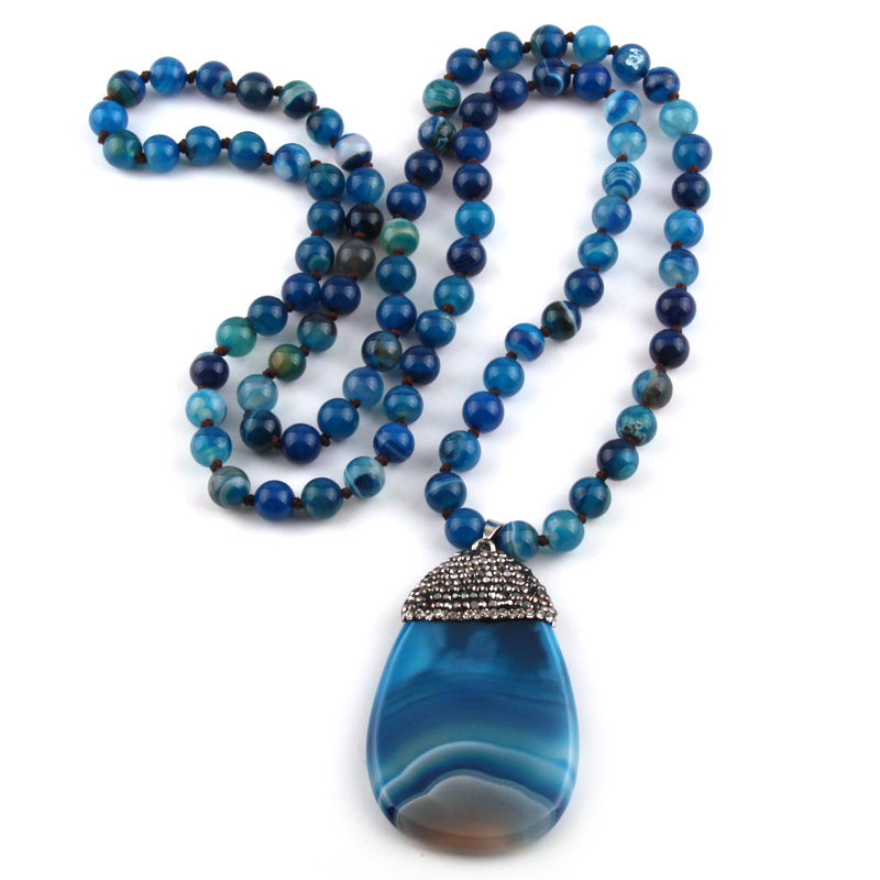 Fashion Bohemian Tribal Jewelry Blue Stripe Stone Knotted Crystal Pave Stones droplets Nec