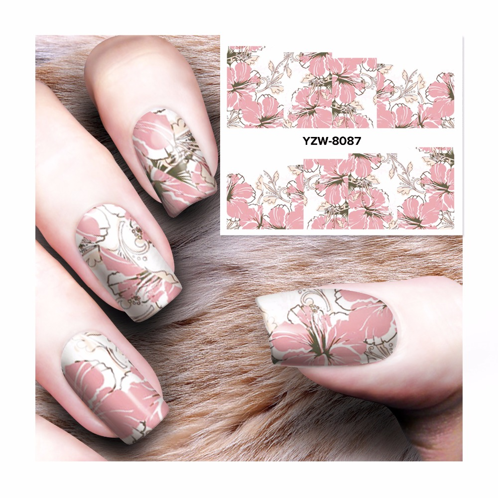 ZKO 1 Sheet  Chic Pink Flower Designs Nail Sticker Water Decals Nail Art Water Transfer Stickers For Nails 8087 zko 1 sheet nail art wrap water transfer nails sticker butterfly series water decals stickers decoration tools wraps a1297 1308
