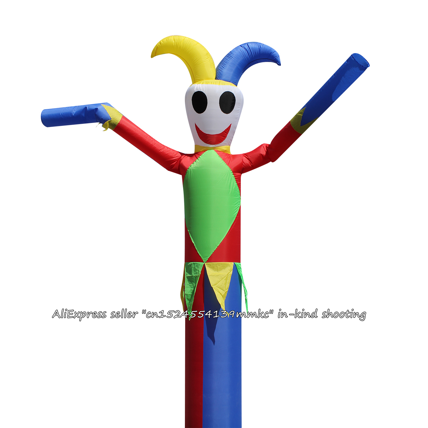 Air Dancer Sky Dancer Inflatable Tube Green Clown Clown Dance Puppet Wind Inflatable Advertising Bouncy For 18'' Blower