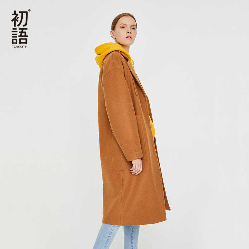 Toyouth Woolen Winter Women Coats Thick Warm Casual Long Coat Abrigo Mujer Pockets New Overcoat Wool  Ladies Elegant Coat