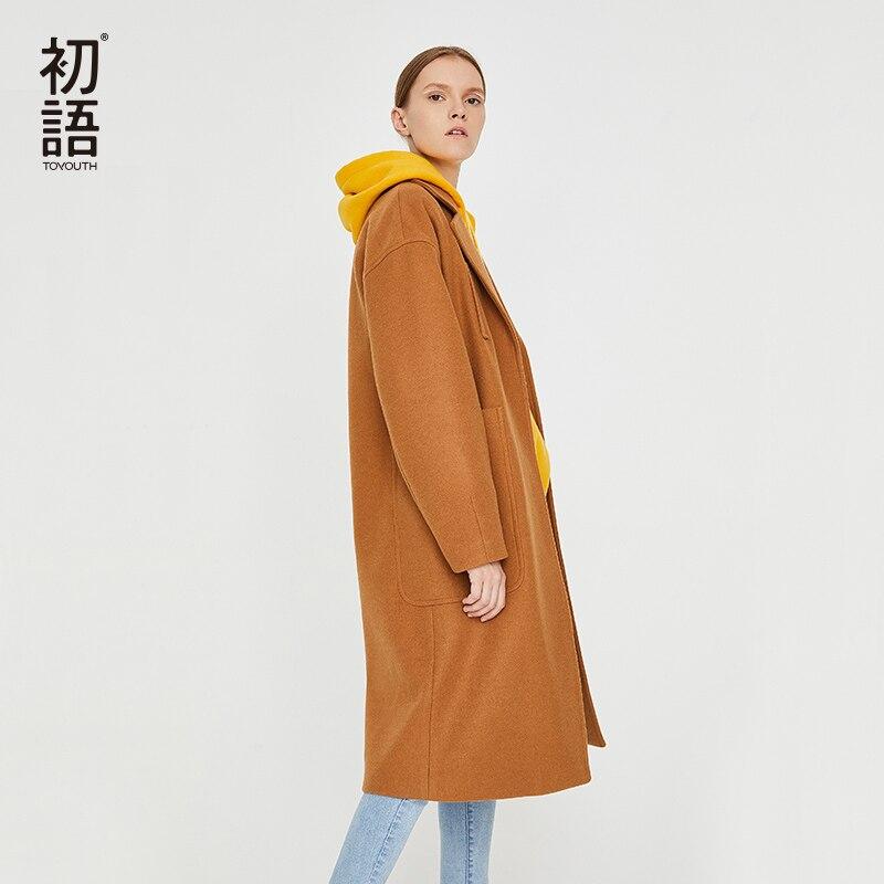 Toyouth Woolen Winter Women Coats Thick Warm Casual Long Coat Abrigo Mujer Pockets New Overcoat Wool  Ladies Elegant Coat