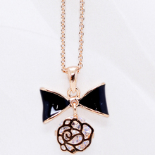 ltalina rigant 18k gold plated cute bowknot necklace with zircon for girls