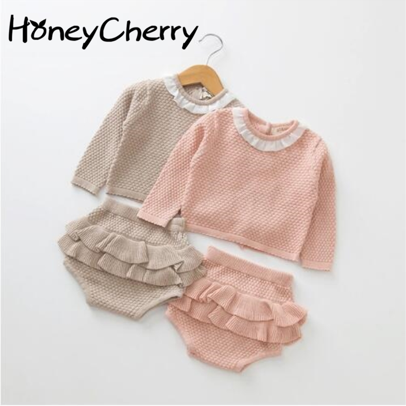 Baby Clothing Set Two Girls Suit Knit 0-2 Year Old Cotton Baby Long Sleeve Blouse + Lotus Leaf Shorts