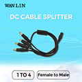 WANLIN Freeshiping 5PCS Cable DC Power Jack 1 DC Female To 4 Male Plug Splitter Adapter Connector Cable CCTV Camera Accessory