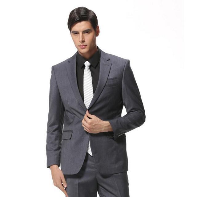 ハンサムカスタムメイドダークグレー男性スーツ結婚式タキシード二枚新郎ビジネスフォーマルスーツ高品質