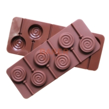 Lollipop mold silicone mould 6 lattices in circles DIY chocolate molds ice cube mold comes with a plastic rod CDSM-070