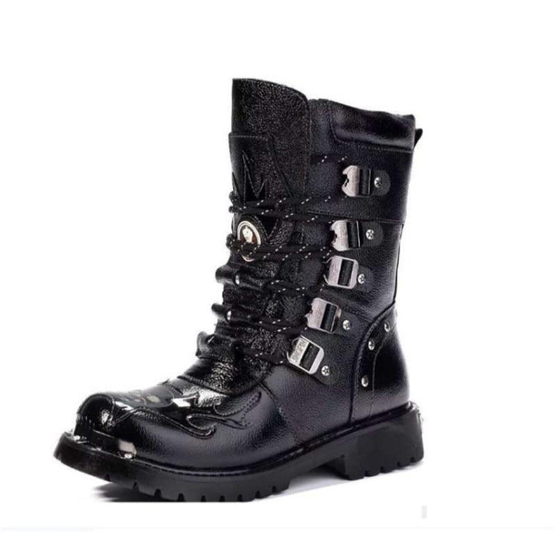 Sapatos Militar Bezerro Motociclista Meados Dos De Quente Black Botas Crânio 39 Sapatas Inverno Homens Metal Pu Pele 44 Moda xX08nCqw