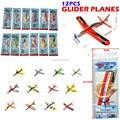 Voando espuma planador aviões DIY avião crianças DIY Puzzles brinquedos com saco de pacote, 12 pçs/set