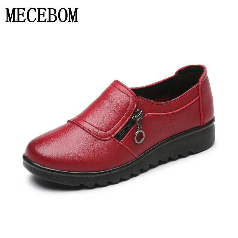 flats Shoes Woman Genuine Leather Women Shoes Flats 3 Colors Buckle Slip On Womens Flat Shoes Moccasins Plus Size 9107W
