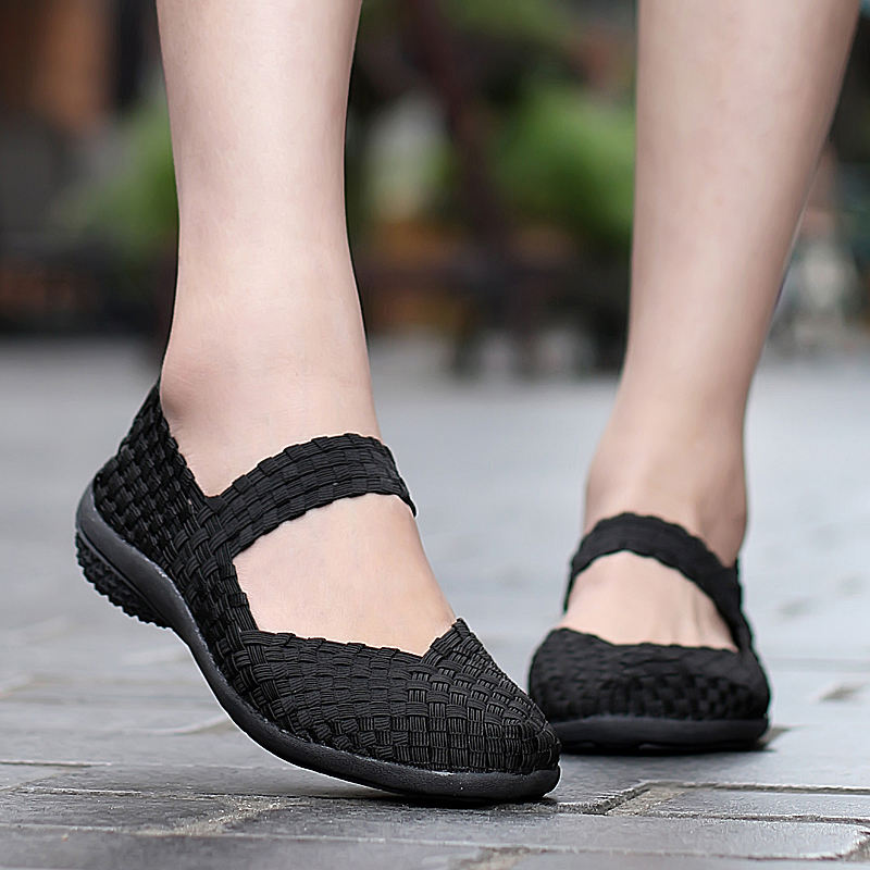 Women Flats Shoes Summer Sneakers Slip On 2019 Fashion Woven Shoes Breathable Female Loafers Casual Footwear Plus Size 42