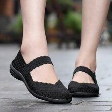 Sapatos femininos apartamentos tênis de verão deslizamento em 2020 moda sapatos de tecido respirável feminino mocassins calçados casuais plus size 42