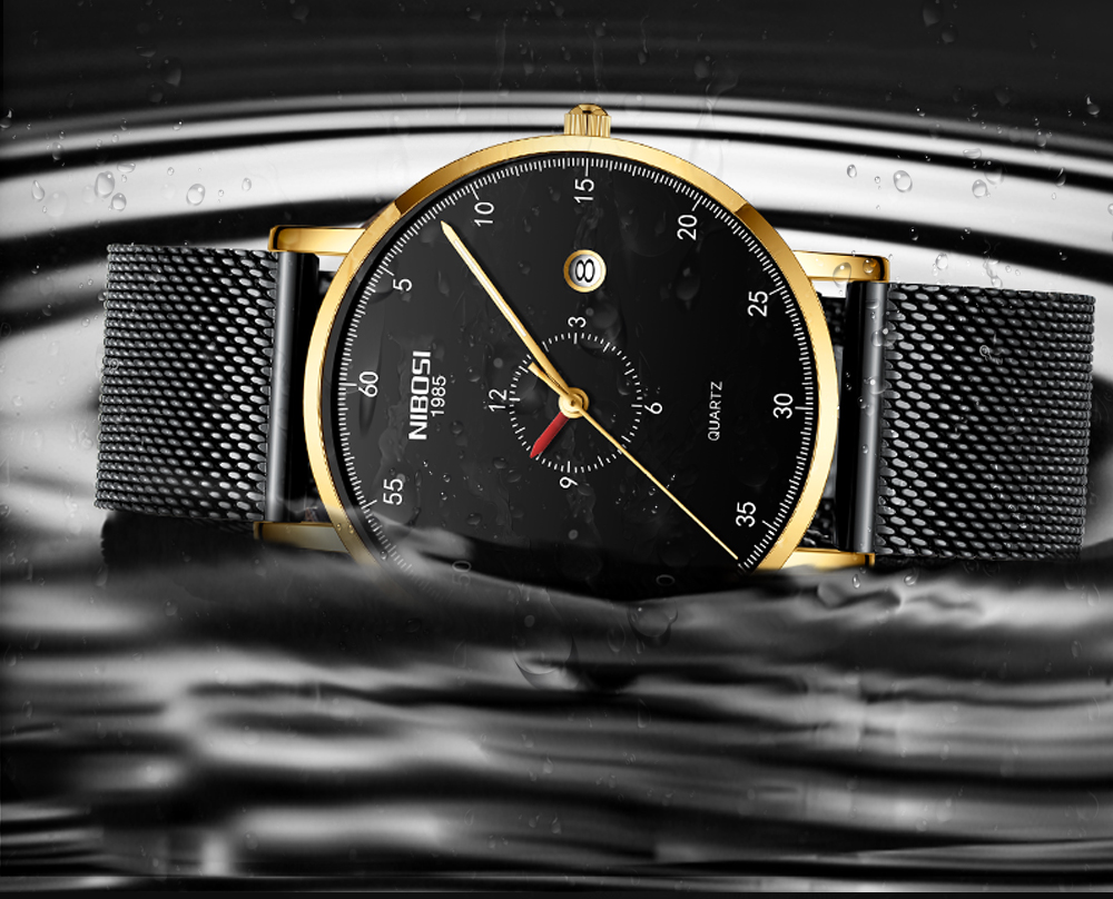 Erkek Kol Saati NIBOSI Men Watch Women Top Brand Luxury 2019 Thin Watches For Men Waterproof Black Wristwatch Female (3)