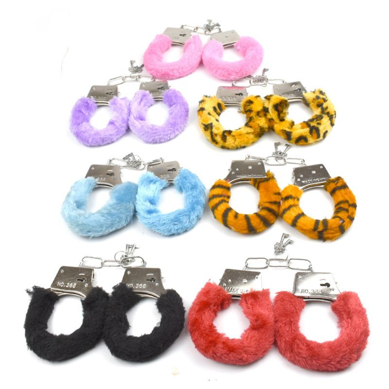Bondage Furry Handcuff With Key Police Roleplay Tools Game Plush Handcuff